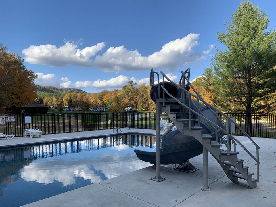 swimming pool in fall